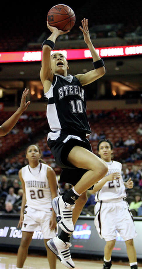 Steele's Meighan Simmons shoots against Timberview during their 2010 UIL 4A state semifinals game Thursday March 4, 2010 in Austin, TX. Timberview won 59-40. / eaornelas@express-news.net