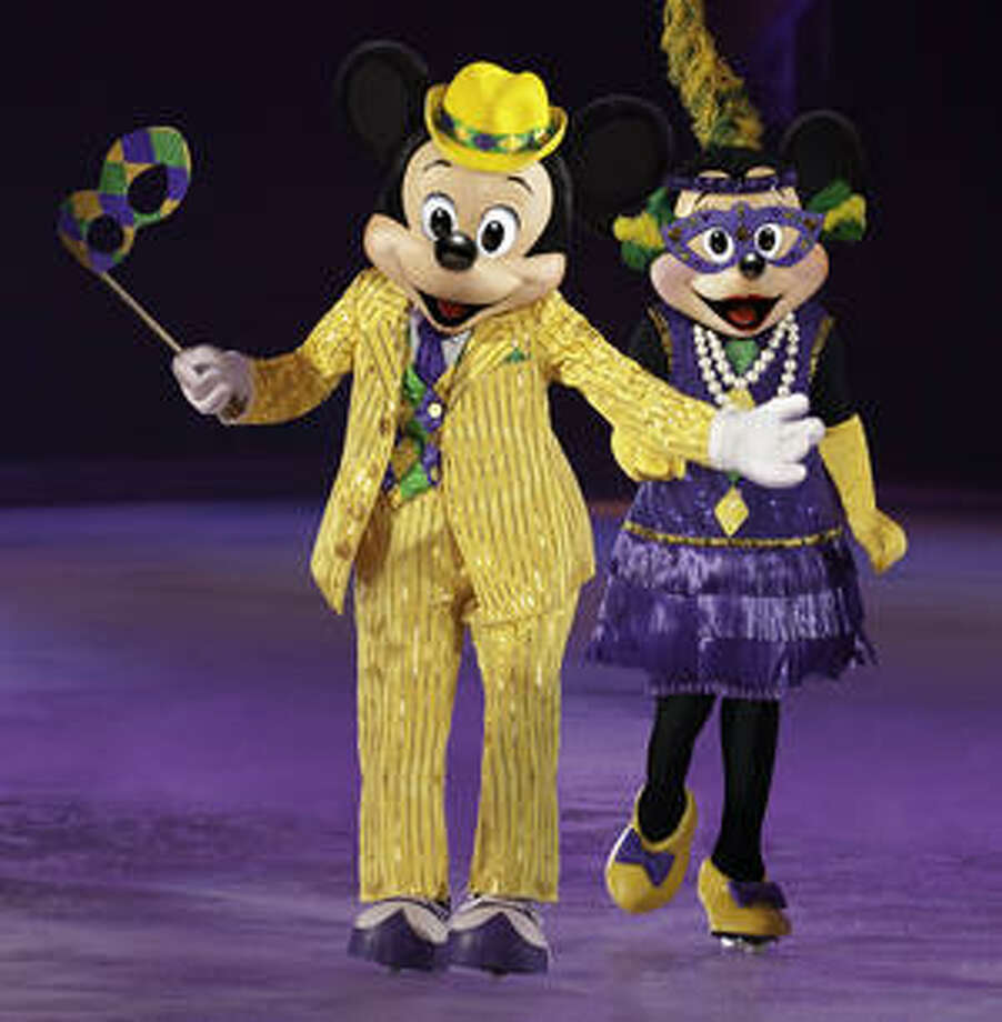 Mickey and Minnie go to Mardi Gras in the ?Princess and the Frog? portion of Disney on Ice's ?Let's Celebrate!?