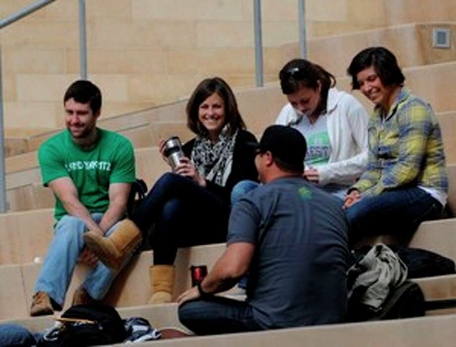 Students enjoy the sunshine between classes at the University of California at San Diego.