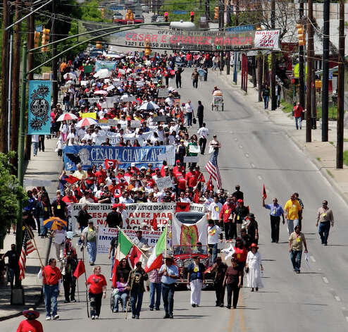 Several thousand people participate in the 14th annual Cesar E. Chavez March for Justice on Saturday, Mar. 27, 2010. The march started at Guadalupe Plaza and progressed toward Alamo Plaza. Mayor Julian Castro along with other city officials joined in the march to honor the anniversary of the civil rights activist and labor leader's efforts to bring attention to the issues of workers' rights. / San Antonio Express-News