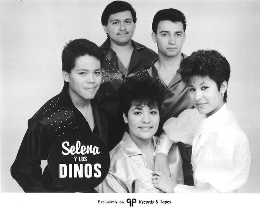 Publicity photo of Selena Y Los Dinos taken in 1987.