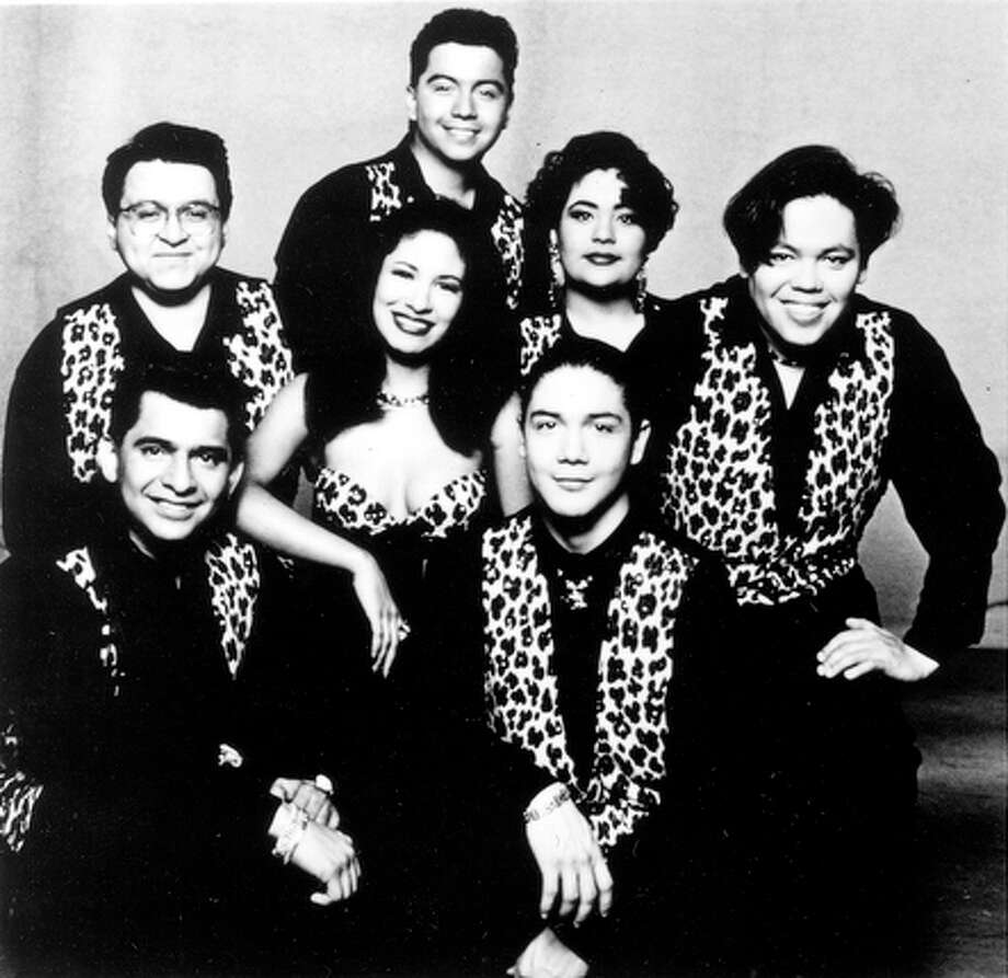 Tejano music artists Selena y Los Dinos, in their cow-print stage costumes.  Photo is from a media press kit promoting their concert at Sea World of Texas in San Antonio slotted for Saturday, Aug. 28, 1993. / E/N FILE PHOTO