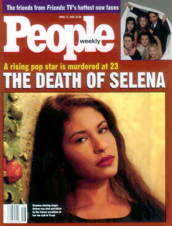 People magazine shows the Latin star Selena on the April 17th cover.  Selena's death led to a first for People magazine, its first split-run cover.  The magazine put Selena on the front of its April 17 1995 issue for copies printed in Dallas and available in 11 states from New Mexico to Mississippi. / PEOPLE