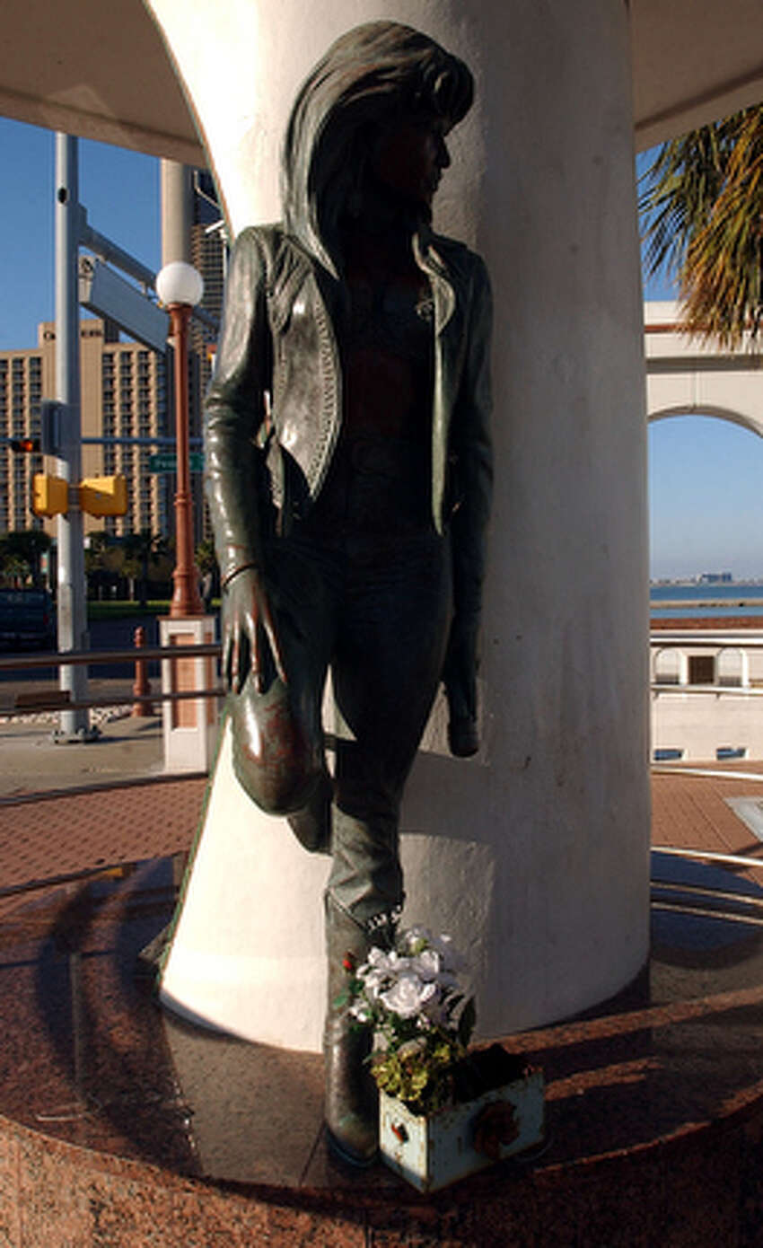 A bronze statue of slain Tejano singer Selena Quintanilla-Perez on the t-heads along Shoreline drive in Corpus Christi.