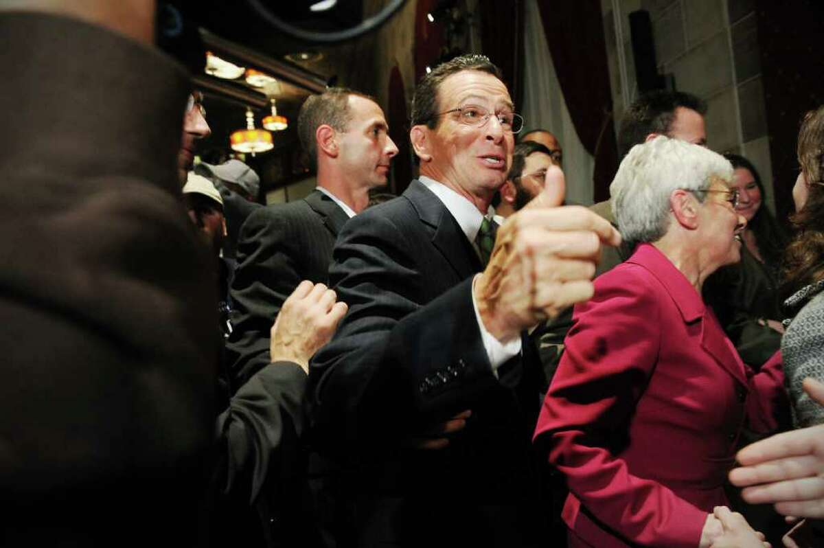 Democratic gubernatorial candidate Dan Malloy addresses his supporters at The Society Room in the early hours on Wednesday November 3. Malloy was declared the winner of the governor's race by Secretary of State Susan Bysiewicz in Hartford, Conn. on Wednesday November 3, 2010.