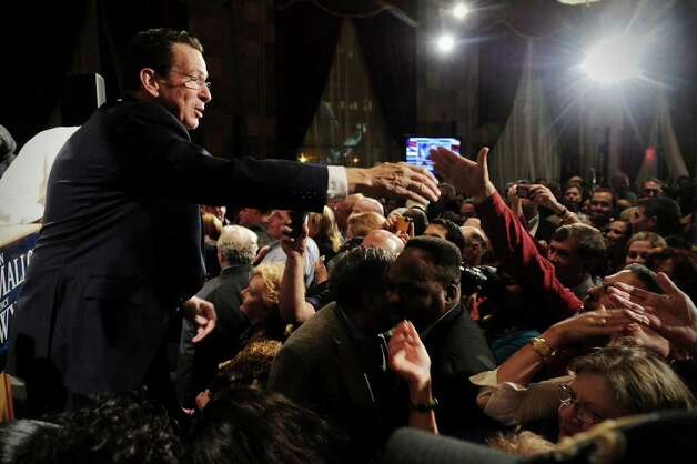 Democratic gubernatorial candidate Dan Malloy addresses his supporters at The Society Room in the early hours on Wednesday November 3.   Malloy was declared the winner of the governor's race by Secretary of State Susan Bysiewicz in Hartford, Conn. on Wednesday November 3, 2010. Photo: Kathleen O'Rourke / Stamford Advocate