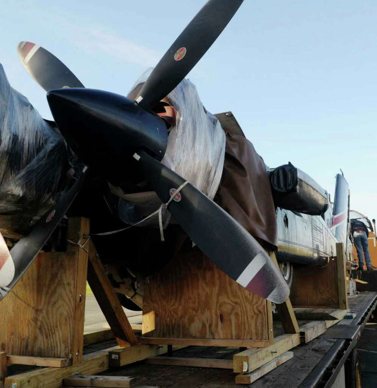 A view of the engines of the OV-10D Bronco warplane that was donated Wednesday to Questar III Rensselaer Educational Center in Troy. (Paul Buckowski / Times Union)