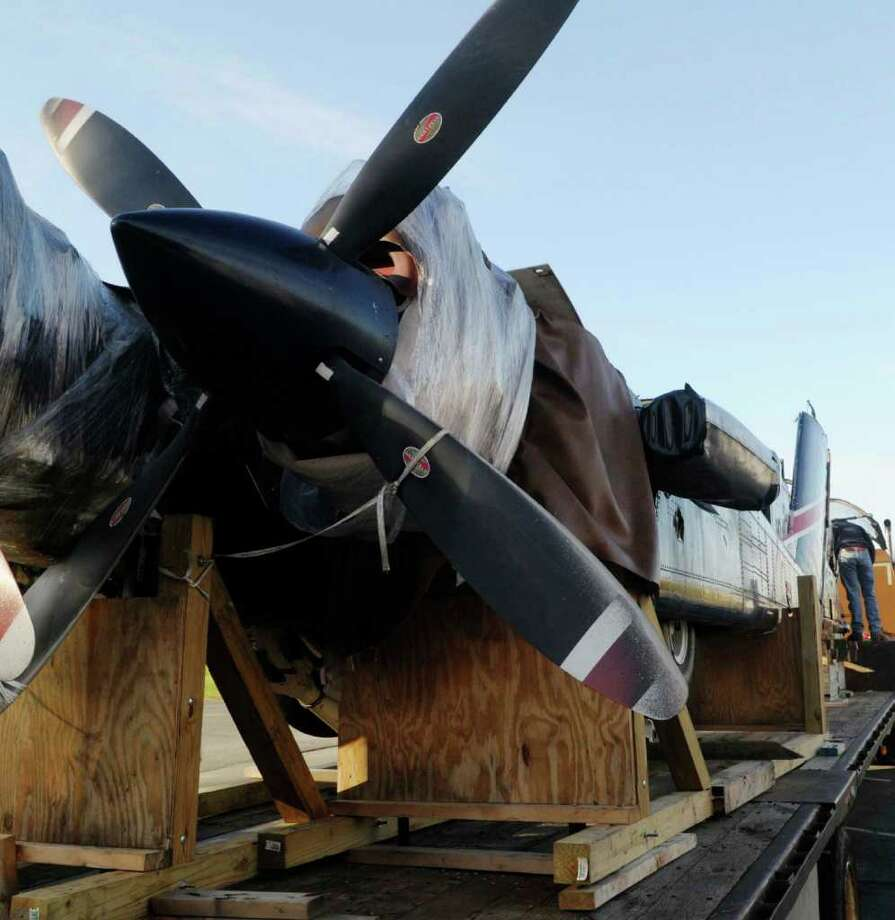 A view of the engines of the OV-10D Bronco warplane that was donated Wednesday to Questar III Rensselaer Educational Center in Troy.  (Paul Buckowski / Times Union) Photo: Paul Buckowski / 00010913A