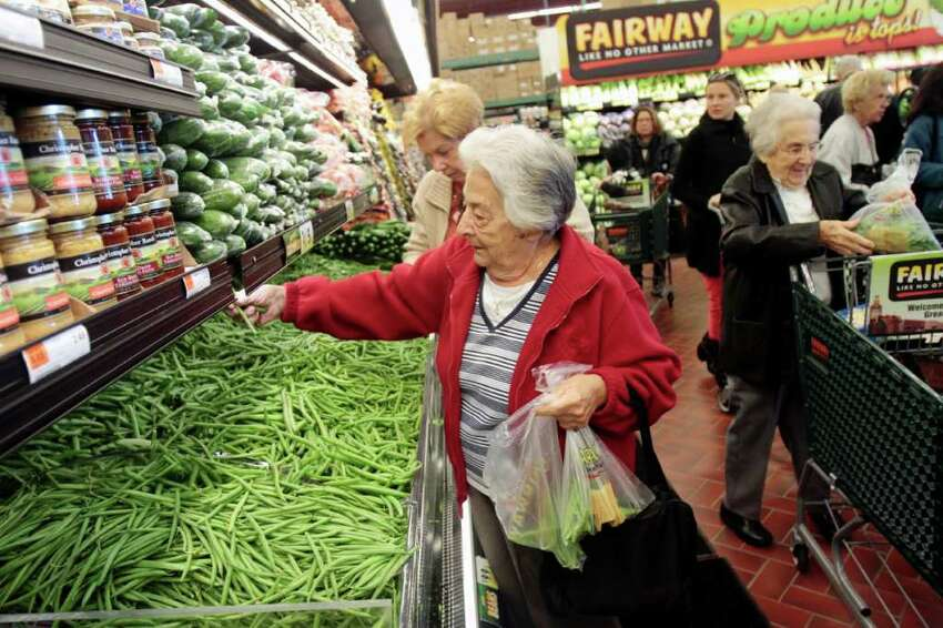Shoppers fill the aisles on opening day of Fairway Market in Stamford, Conn. on Wednesday November 3, 2010.