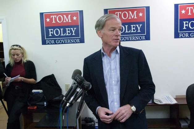 Republican Tom Foley addresses the press regarding the race for governor in his headquarters on Summer Street in Stamford, Conn., November 3, 2010. Secretary of State Susan Bysiewicz called Democrat Dan Malloy winner of the race by 3,000 votes. Foley says both his camp and the Associated Press have different figures totaling less than 2,000. He wants access to the Secretay of State's numbers to reconcile the difference. Photo: Keelin Daly / Stamford Advocate
