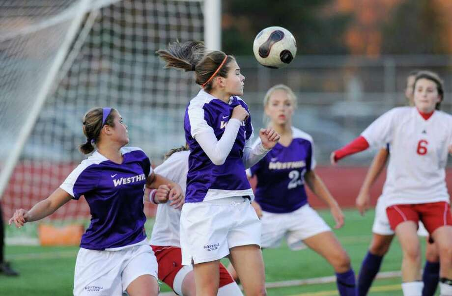 Whitney Mantel, # 2, of Westhill, heads the ball during the 2010 Girls FCIAC Soccer Championship between Greenwich High School vs. Westhill High School at Norwalk High School, Wednesday night, Nov. 3, 2010.  Greenwich defeated Westhill, 1-0. Photo: Bob Luckey / Greenwich Time