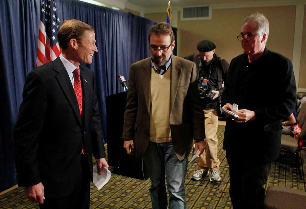 Connecticut Attorney General and newly elected Sen. Richard Blumenthal, D-CT., talks with reporters as he concludes a media availability the day after his victory in Hartford, Wednesday, Nov. 3, 2010. (AP Photo/Stephan Savoia)