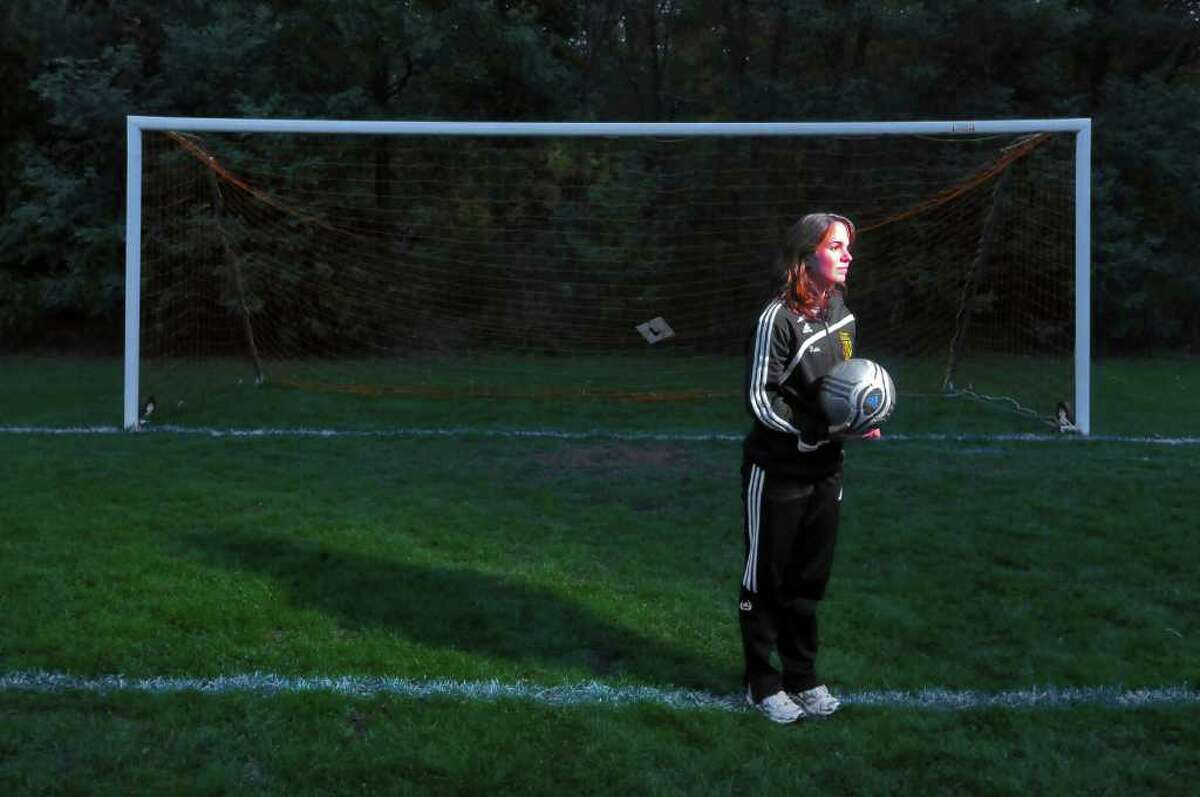 Katlyn Brown, a Scotia-Glenville senior, just quit her school soccer team after years of bullying by her teammates. In January, a student who has since graduated attacked her during her premier league soccer game. She was photographed in Scotia, NY on Thursday evening October 14, 2010. ( Philip Kamrass / Times Union )