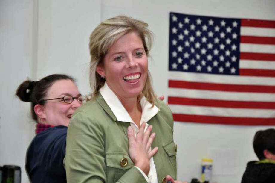 State rep. Kim Fawcett celebrates at the Democratic headquarters on Election Night, Tuesday Nov. 2, 2010, after defeating Republican challenger Dee Dee Brandt to secure a third term in Hartford. Photo: Amy Mortensen / Fairfield Citizen freelance