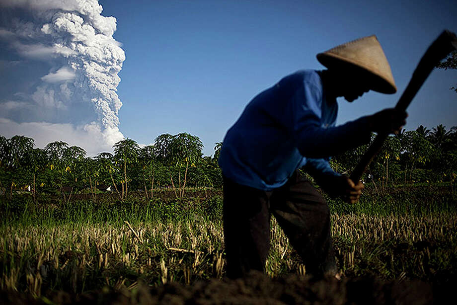 YOGYAKARTA, INDONESIA - NOVEMBER 04:  A farmer stands in a rice field as volcanic material from Mount Merapi erupts, in Klaten, Central Java on November 4, 2010 near Yogyakarta, Indonesia. Over 70,000 people have now been evacuated with the danger zone being extended to over 15km as the volcano continues to spew ash and volcanic material. Three more people have been killed during the latest eruption taking the death toll to at least 44 people during the week of deadly eruptions.Ê  (Photo by Ulet Ifansasti/Getty Images) Photo: Ulet Ifansasti, Getty Images / 2010 Getty Images