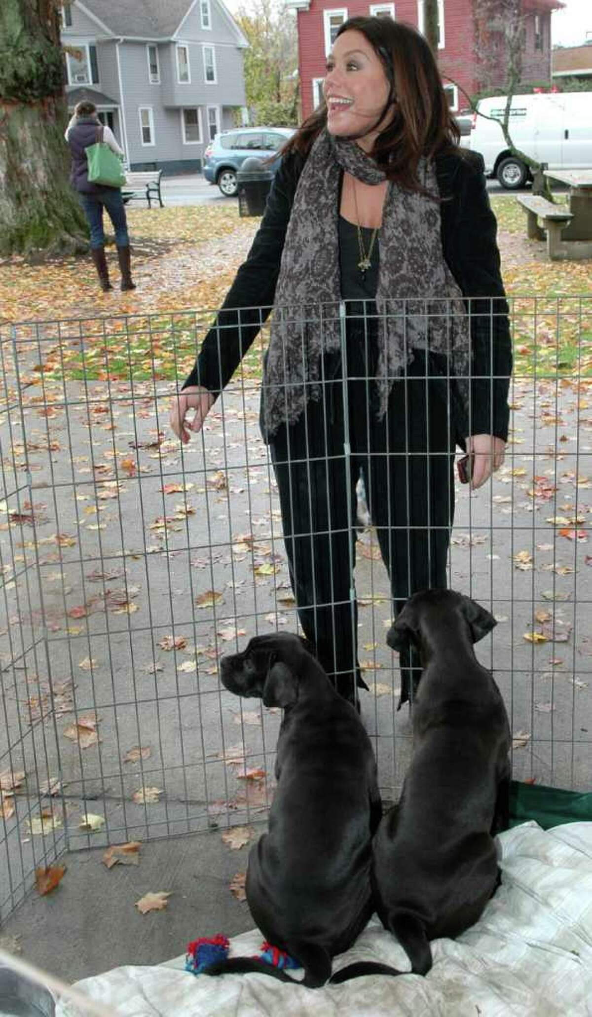 Rachael Ray stopped by the Adopt-A-Dog event on Sherman Green in Fairfield, Conn. on Friday November 5, 2010. After posing with some of the dogs up for adoption, Rachael made a $7,500 donation to the cause before heading over to Borders Bookstore for a booksigning.