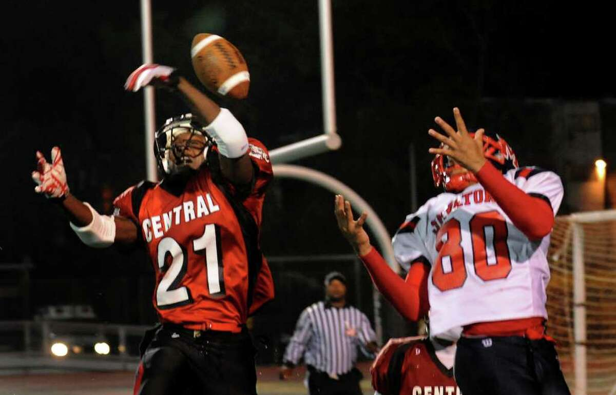 Central's #21 David Anderson, left, breaks up a pass in the end zone intended for McMahon's #80 Chris Daniel, during football action in Bridgeport, Conn. on Friday November 5, 2010.