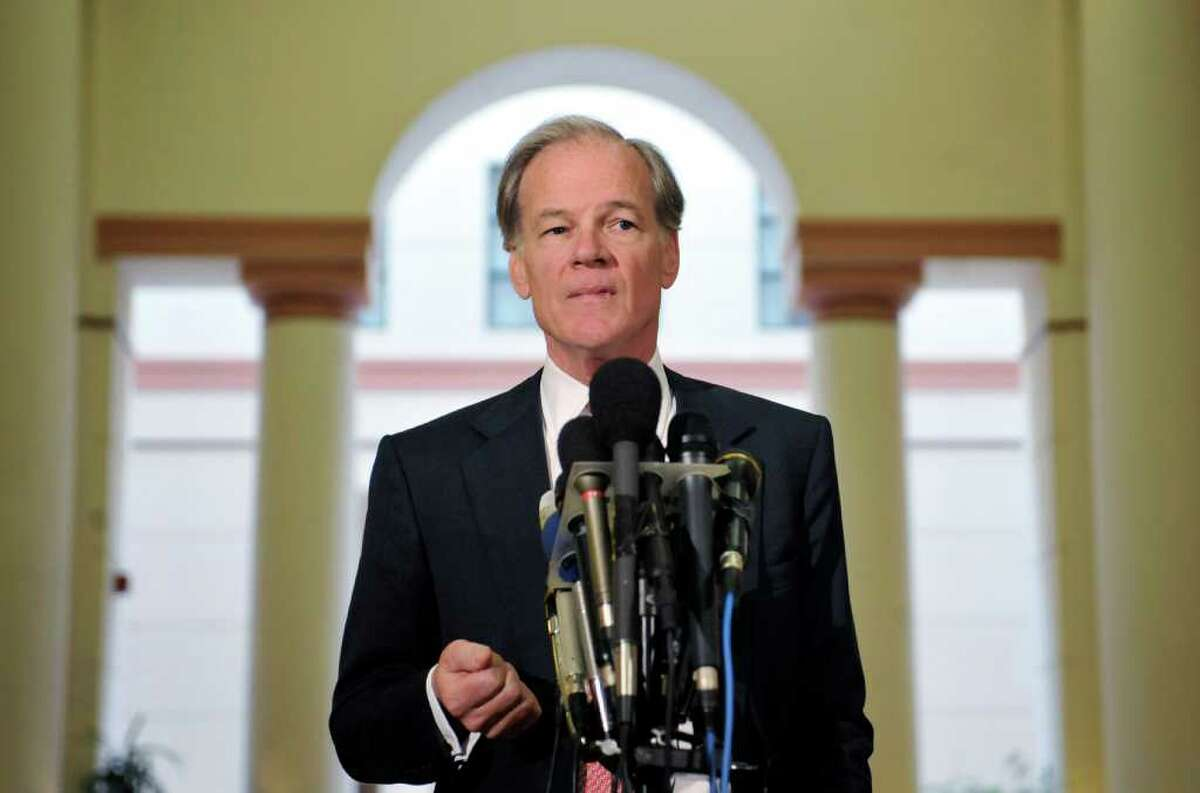 Republican gubernatorial candidate Tom Foley holds a news conference to announce he is not yet conceding, in Hartford, Conn., Friday, Nov. 5, 2010. Bridgeport Mayor Bill Finch announced the vote totals Friday morning, giving Democratic gubernatorial candidate Dan Malloy the edge in the election by more than 13,000 votes over Foley in the disputed race. (AP Photo/Jessica Hill)