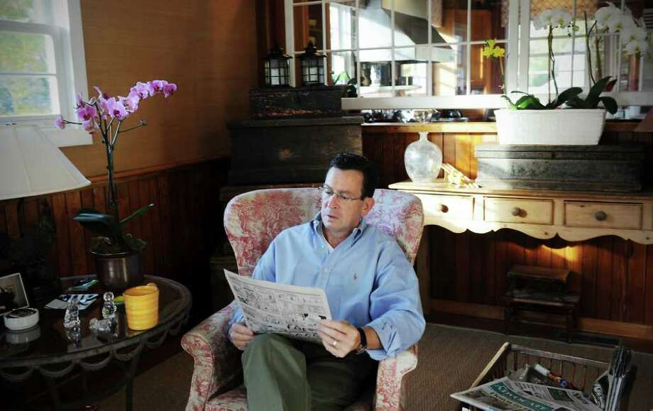 Governor-elect Dan Malloy relaxes in his family room at his home in Stamford, Conn. on Saturday November 6, 2010. Photo: Kathleen O'Rourke / Stamford Advocate