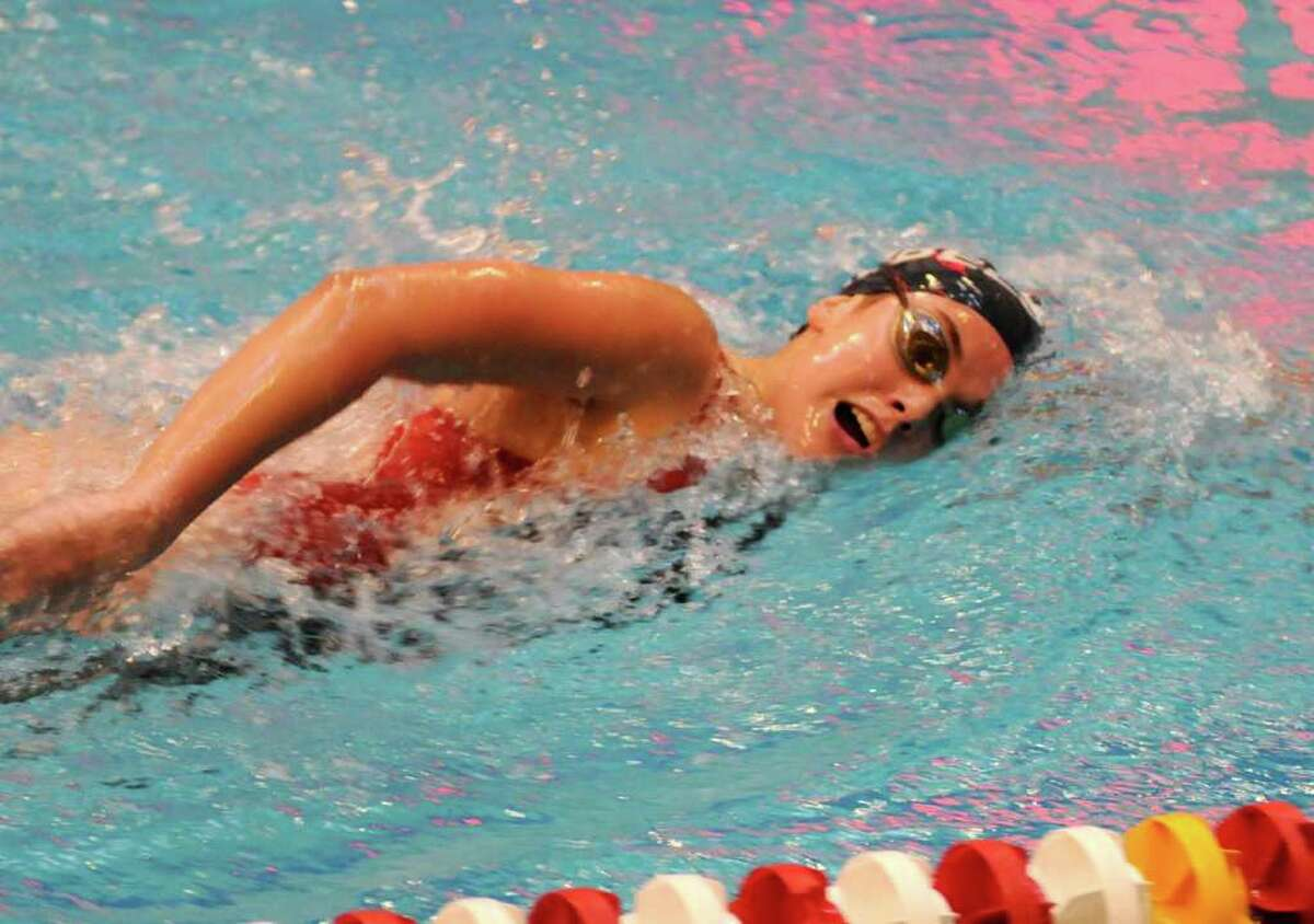2010 SWC Girls Swimming and Diving Championships at Masuk High School on Sat. Nov. 6. New Fairfield's Kaitlyn Murtha swims freestyle in the 200 yard IM 5th heat finals.