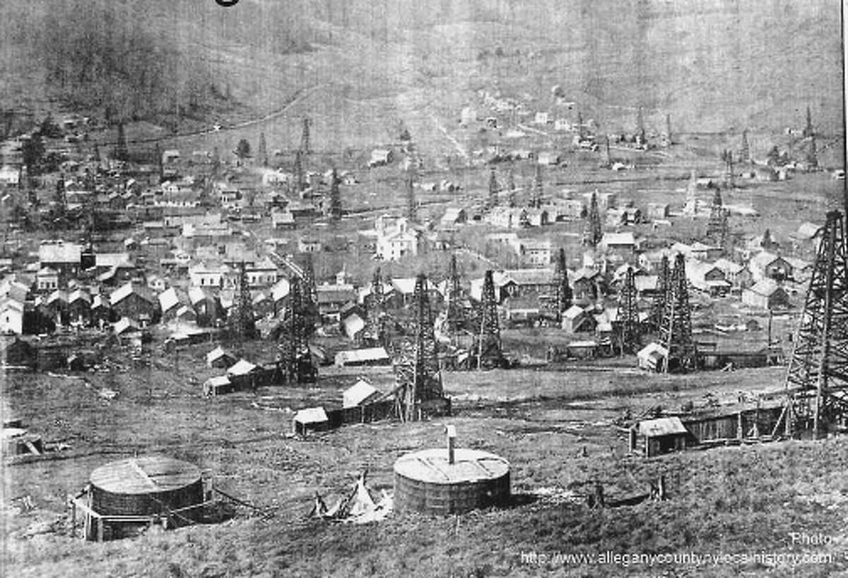This Richburg oil field circa 1882 was the first oil boomtown in the state where fortunes grew and evaporated but wells remain abandoned. Two abandoned wells turned up near the local high school during an expansion project in the Allegany County school district. (Allegany County, N.Y., local history)