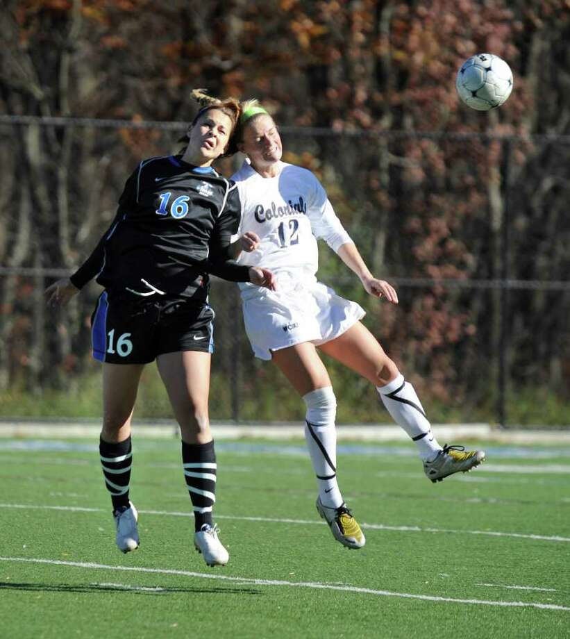 Western Connecticut State University competes against UMass Boston in the Little East Conference Women's Soccer championship, Sunday, Nov. 8, 2010. Left, #16, UMass, Tayla Andrews. Right, 12, WestConn, Samantha Trayer. Photo: Carol Kaliff / The News-Times