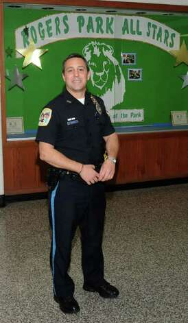 Danbury police officer Pete Tragni at Rogers Park Middle