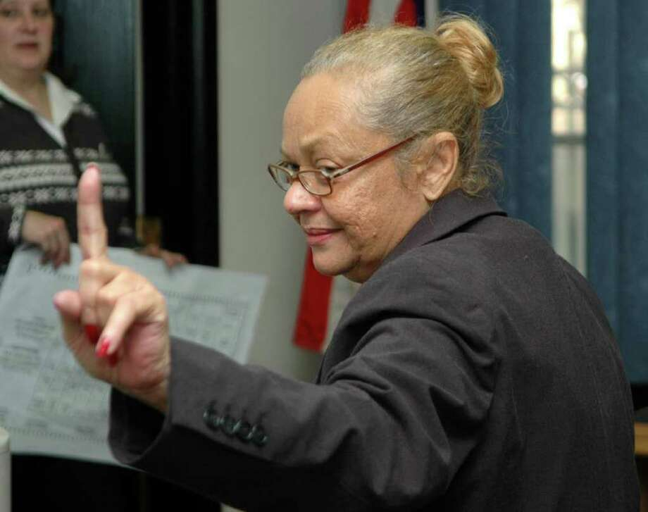 Santa Ayala, the Democratic registrars of voters in Bridgeport, defended her office's handling of Tuesday elections, saying proper procedures were followed even though thousands of ballots had to be hand-counted because the supply of machine-scored ballots ran short. Ayala was at the Registrars of Voters office at McLevy Hall in Bridgeport Conn. on Wednesday Novemeber 3, 2010. Photo: Cathy Zuraw / Connecticut Post