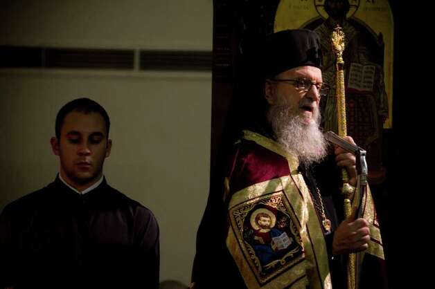 Archbishop Demetrios of America attends the name day vespers service at the Greek Orthodox Church of the Archangels in Stamford, Conn. on Sunday, Nov. 7, 2010. Photo: Chris Preovolos / Stamford Advocate