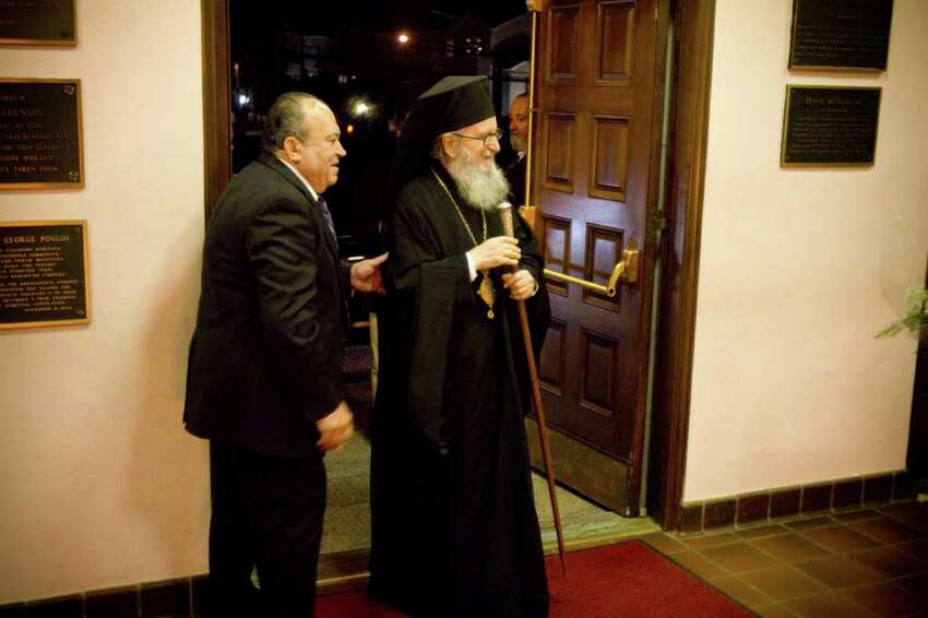 Archbishop Demetrios of America arrives for the name day vespers service at the Greek Orthodox Church of the Archangels in Stamford, Conn. on Sunday, Nov. 7, 2010.