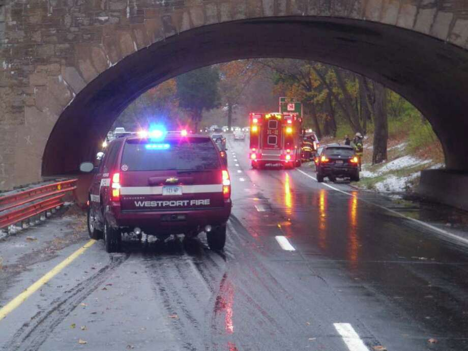 At 7:26 a.m. on Nov. 8, 2010, Westport firefighters responded to the Merritt Parkway northbound in the stretch of roadway from exit 40 toeExit 42 for a report of multiple-vehicle accident with injuries. Photo: Contributed Photo / Westport News contributed