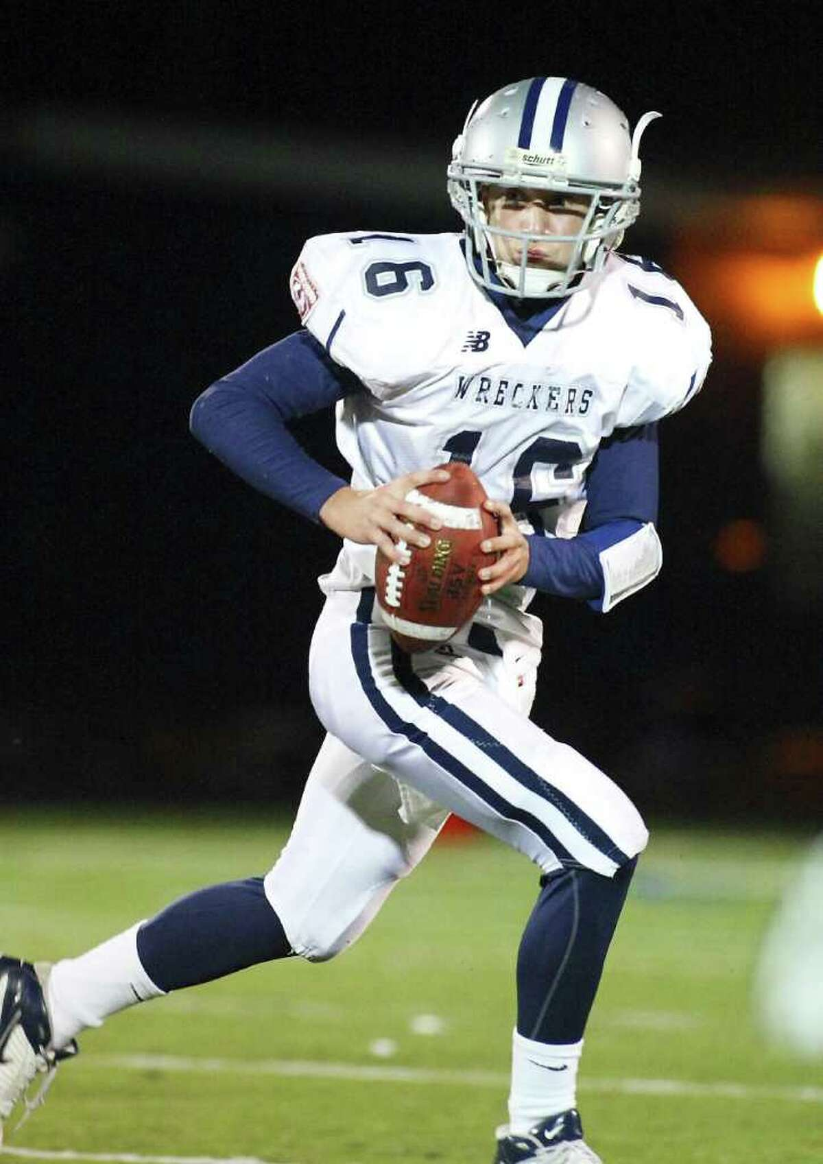 Staples High School football played Wilton High School on Friday November 5, 2010, at the field in Wilton, Conn. Staples' quarterback Jack Massie