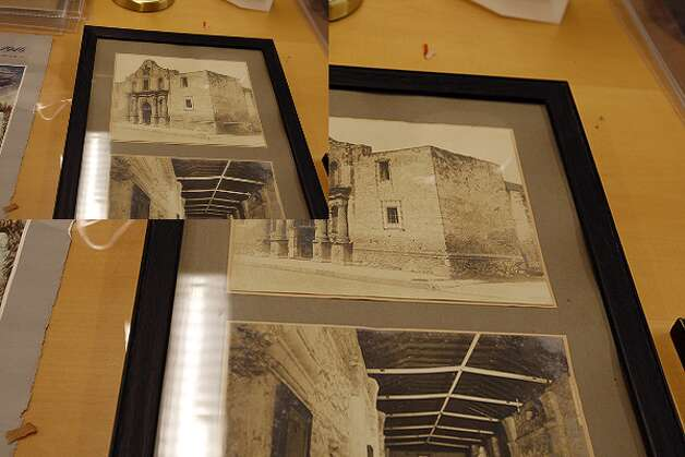 A photo of The Alamo, seen at the main library on Nov. 8, was part of a cache of artifacts found in a walled off closet on the third floor of the Hertzberg Circus Museum.