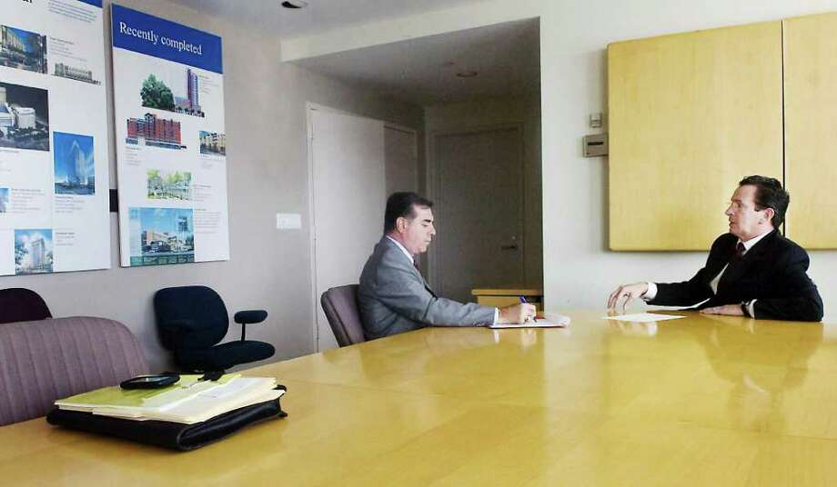 Former Stamford mayor Dannel Malloy meets with Mayor-Elect Mike Pavia in a conference room at the Government Center in Stamford Nov. 19,  2009. Photo: Kathleen O'Rourke, ST