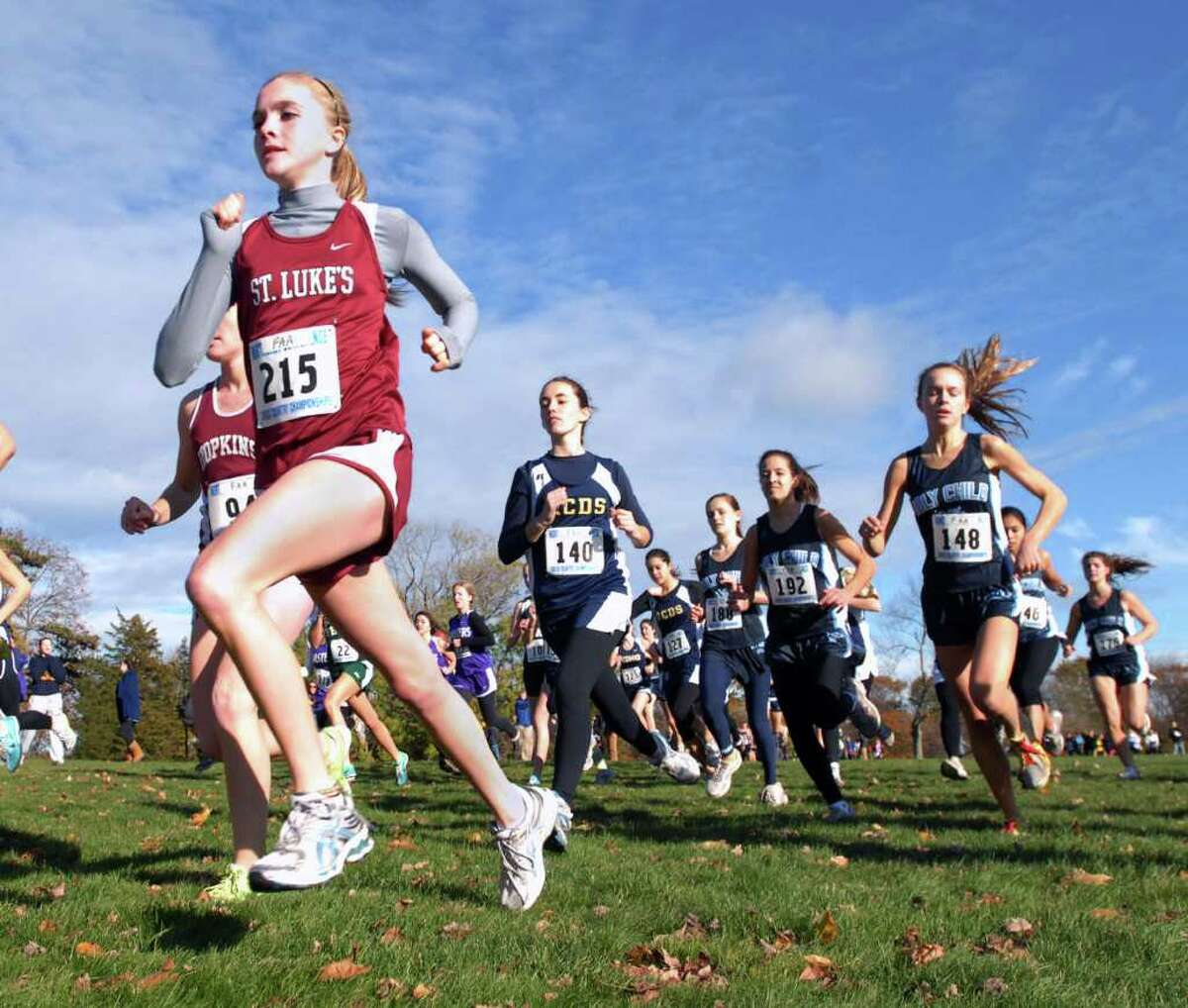 Caroline Hopkins of St. Lukes School, # 215, competes in the FAA Cross Country Championships at Waveny Park, New Canaan, Tuesday afternoon, Nov. 9th, 2010. Hopkins came in 20th with a time of 22:31.