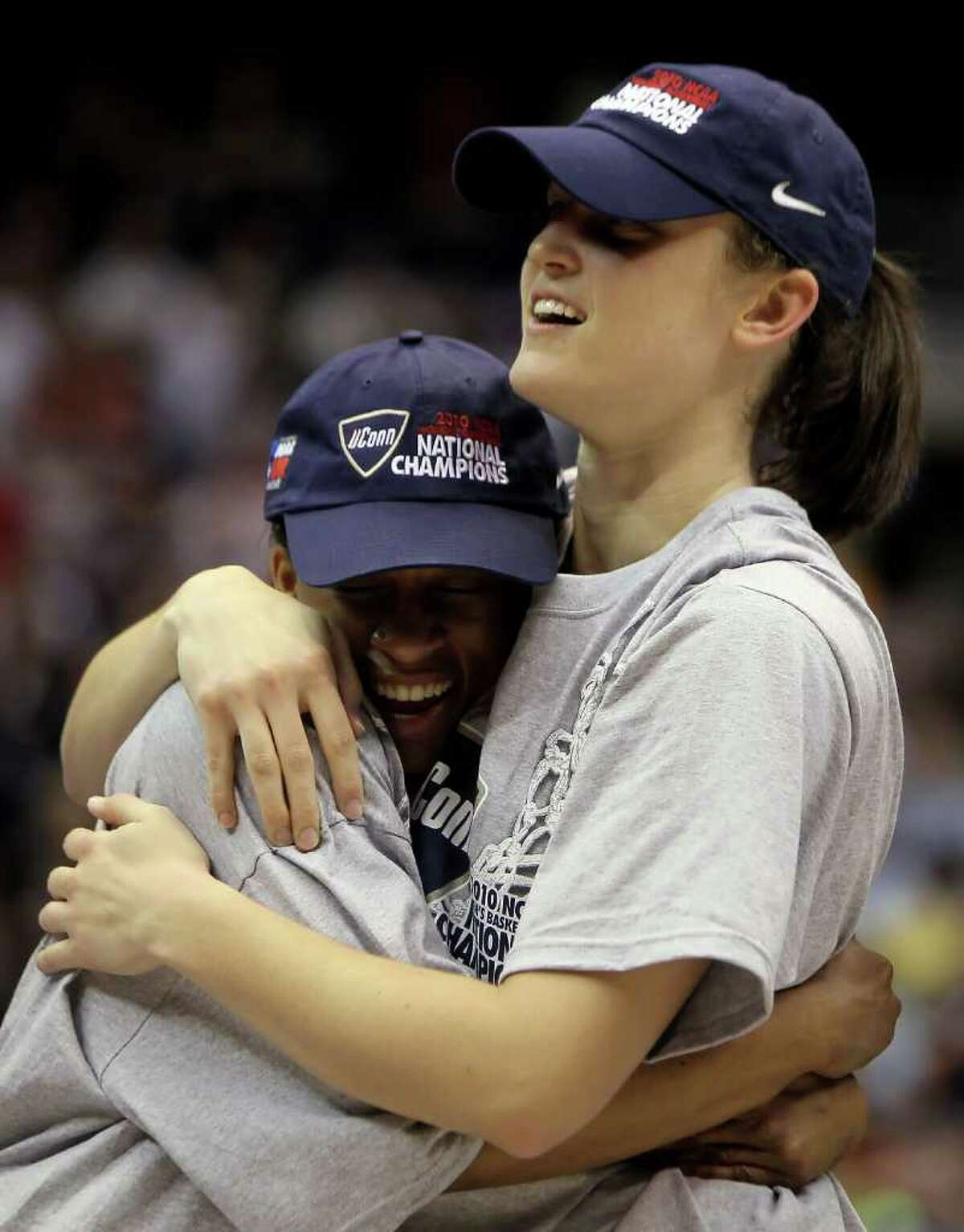 SAN ANTONIO - APRIL 06: Lorin Dixon (L) and Kelly Faris of the Connecticut Huskies hug each other as they celebrate after a 53-47 victory over the Stanford Cardinal during the NCAA Women's Final Four Championship game at the Alamodome on April 6, 2010 in San Antonio, Texas. (Photo by Jeff Gross/Getty Images) *** Local Caption *** Lorin Dixon;Kelly Faris