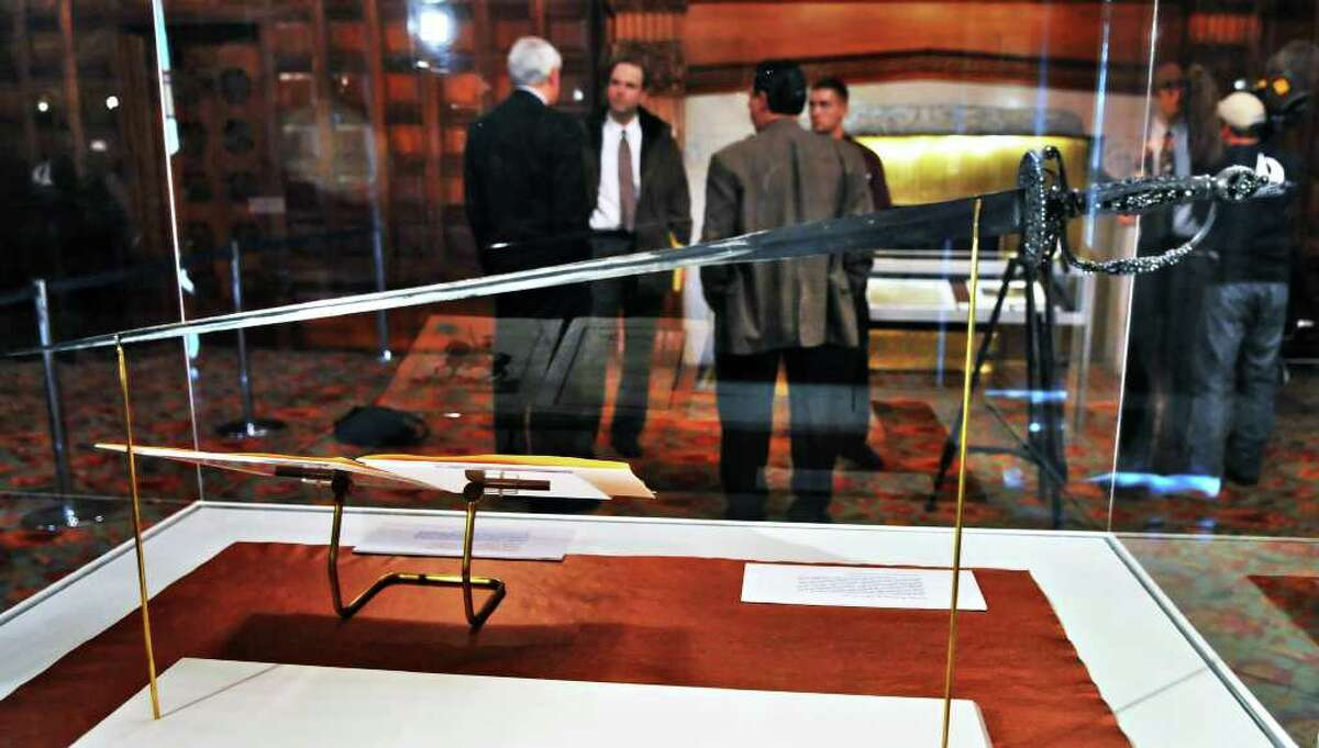 George Washington's dress sword, part of an upcoming public display of historic artifacts at the state Capitol Tuesday afternoon November 9, 2010. (John Carl D'Annibale / Times Union)