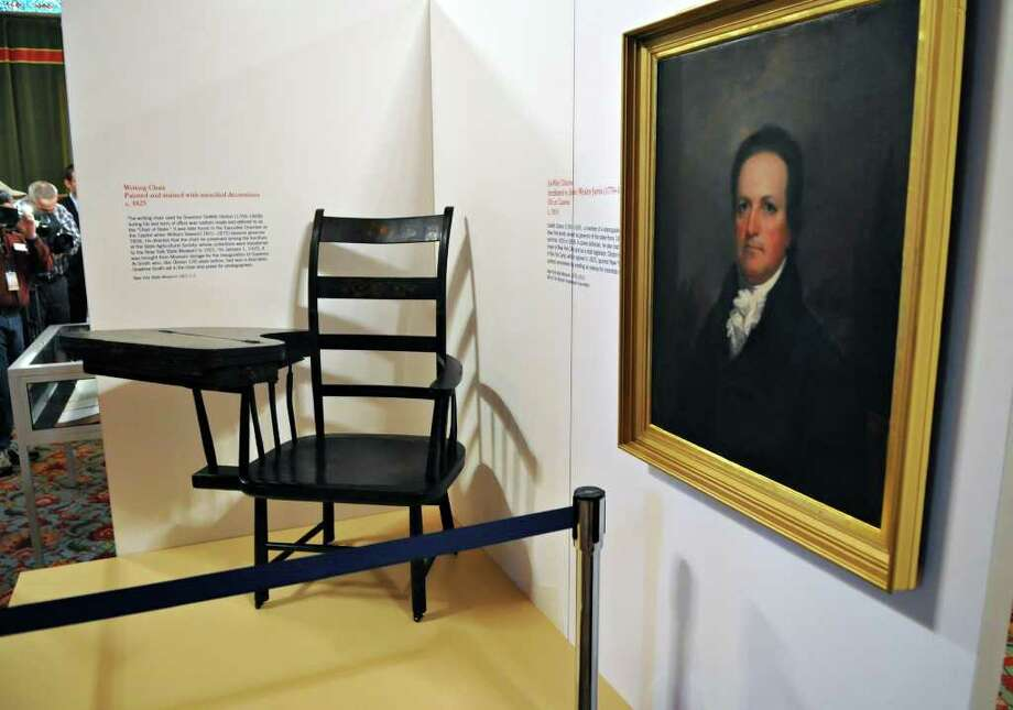 Writing chair and portrait of Dewitt Clinton, part of an upcoming public display of historic artifacts at the state Capitol Tuesday afternoon November 9, 2010.  (John Carl D'Annibale / Times Union) Photo: John Carl D'Annibale / 10010997A