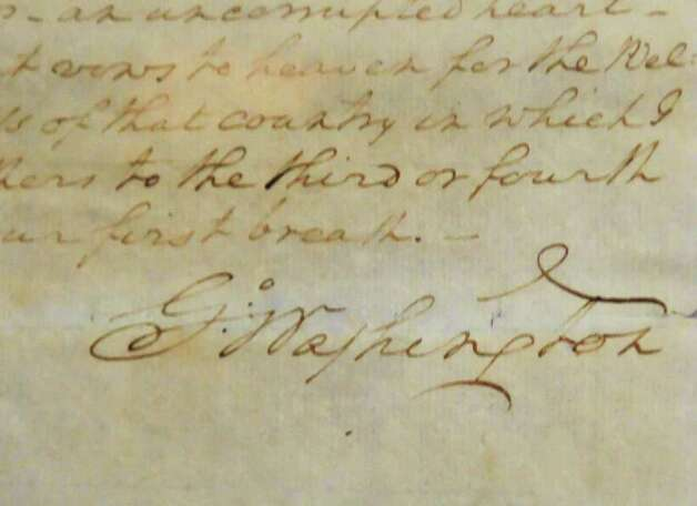 Signature on an original draft of George Washington's farewell address penned in his hand and sent to Alexander Hamilton for his comments on May 15, 1796, part of a State Library and Archives collections for an upcoming public display at the state Capitol Tuesday afternoon November 9, 2010.  (John Carl D'Annibale / Times Union) Photo: John Carl D'Annibale / 10010997A
