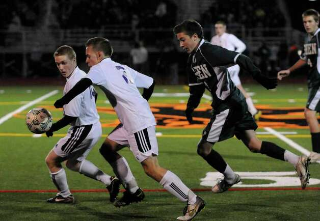 High school fall sports -- boys' soccer -- Ballston Spa and Shenendehowa battle Tuesday. Ballston Spa won when senior striker  James Cowie scored his first goal of the season. (Michael P. Farrell, Times Union) Photo: Michael P. Farrell