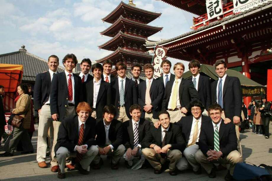 The Baker's Dozen Yale a cappella group on a recent singing tour of Japan. The group will sing at the Westport Rotary Club's Veteran's Day social at Earthplace at 7 p.m. on Nov. 11, 2010. Photo: Contributed Photo / Westport News contributed