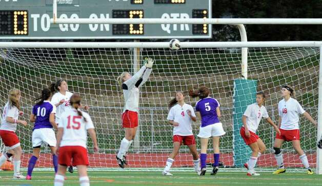 GHS goalie Taylor Bucklin makes a stop during first half action of the 2010 Girls FCIAC Soccer Championship between Greenwich High School and. Westhill High School. Greenwich, which defeated Westhill 1-0, earning the FCIAC title, is now hoping to make some noise in the state tournament. Photo: Bob Luckey, ST / Greenwich Time