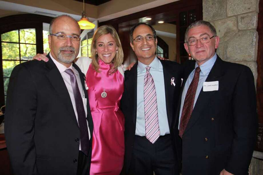 L to R: Dr. Richard Zelkowitz, director of the Smilow Family Breast Health Center at Norwalk Hospital; event hosts Amy & Neil Katz; Dr. Joel Sayfan, director of surgery at Emek Medical Hospital in Afula, Israel Photo: Contributed Photo / Westport News