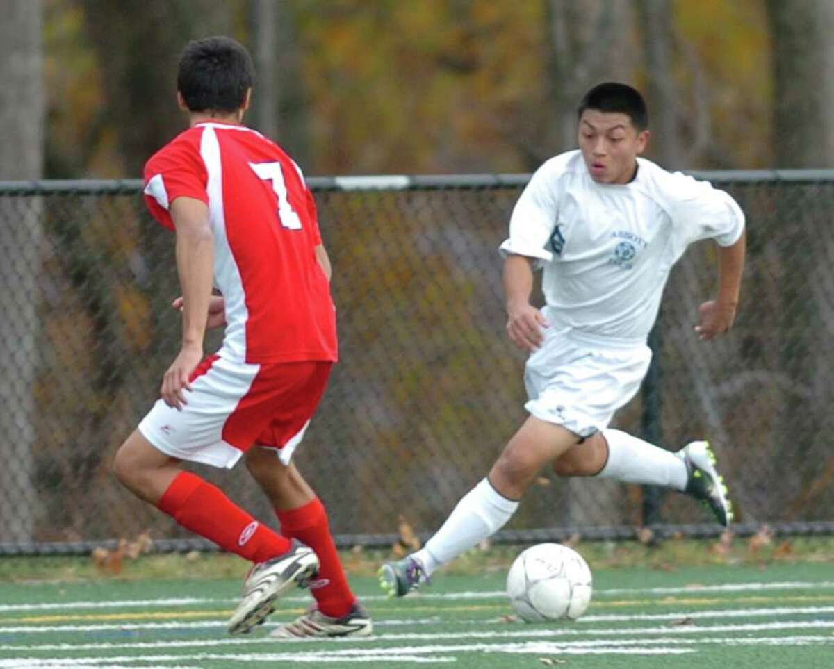 Foran's 7, Christopher Caicedo competes with Abbott Tech's 6, Marco Pauta during the soccer game at Broadview Middle Schoot Nov. 10, 2010.