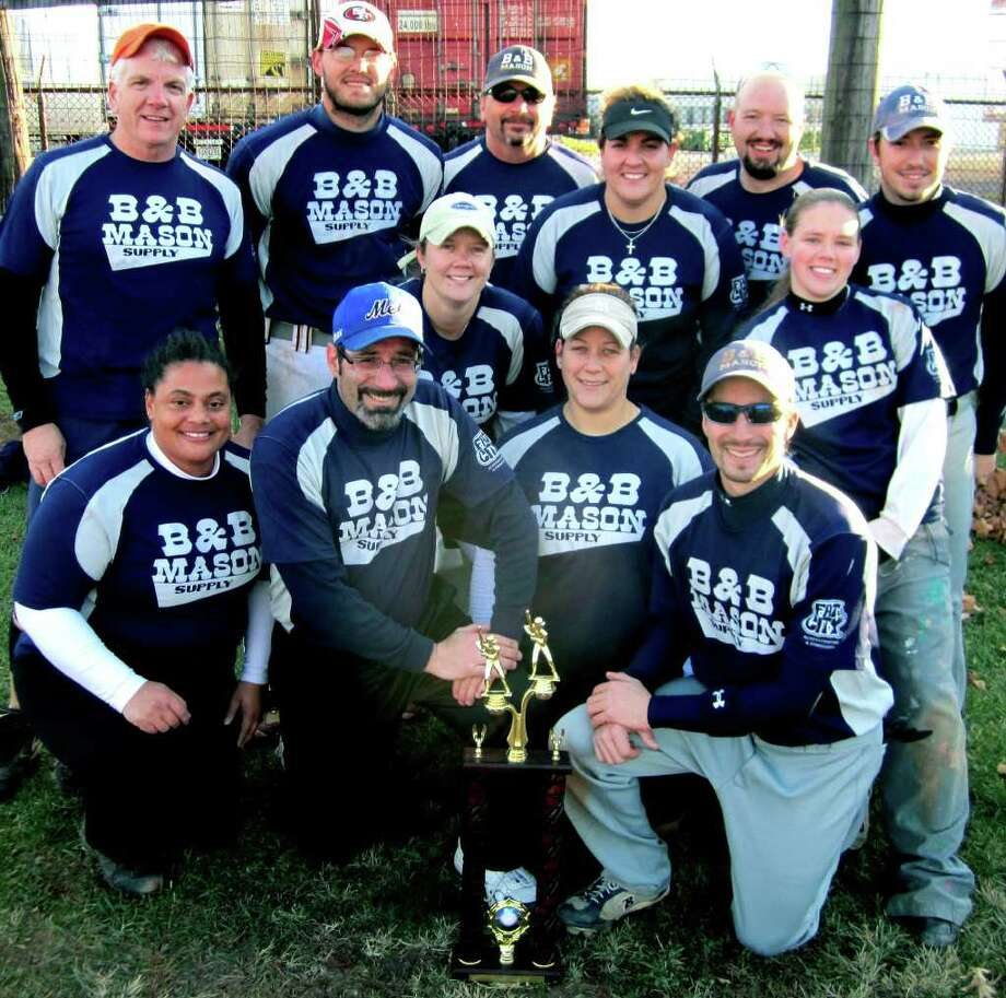 SPECTRUM/The B & B Mason Supply coed softball teams wins the New Milford Parks & Recreation title, Nov. 7, 2010 at Pettibone School. Photo: Norm Cummings / The News-Times