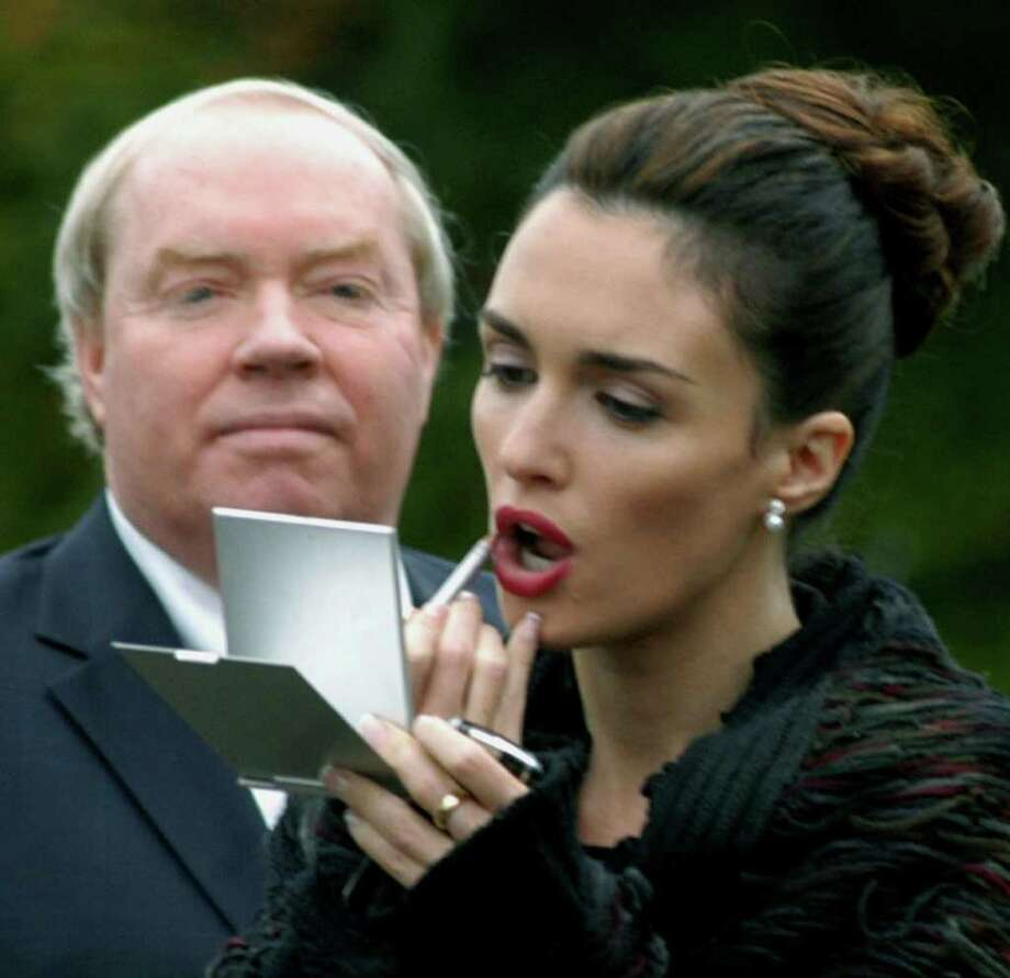 """Norm Cummings SPECTRUM/New Milford attorney Phil Spillane looks on as Spanish actor Paz Vega applies makeup, Oct. 15, 2007 during filming of """"The Six Wives of Henry LeFay."""" Photo: Norm Cummings / The News-Times"""
