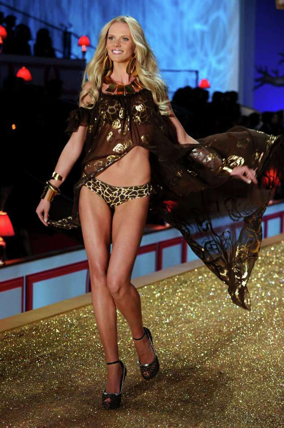 NEW YORK - NOVEMBER 10: Model Anne Vyalitsina walks the runway during the 2010 Victoria's Secret Fashion Show at the Lexington Avenue Armory on November 10, 2010 in New York City. (Photo by Theo Wargo/Getty Images) *** Local Caption *** Anne Vyalitsina
