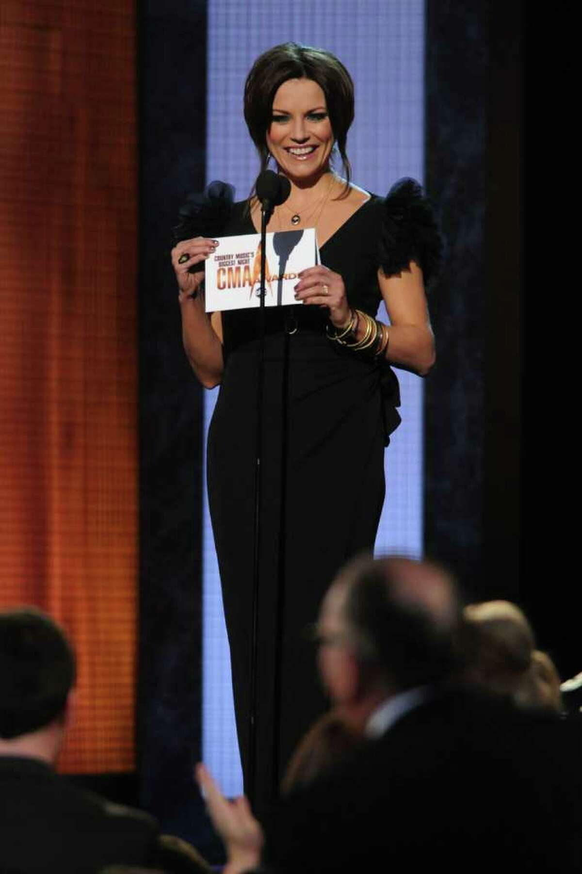 NASHVILLE, TN - NOVEMBER 10: Martina McBride presents award for Male Vocalist of the Year at the 44th Annual CMA Awards at the Bridgestone Arena on November 10, 2010 in Nashville, Tennessee. (Photo by Rick Diamond/Getty Images) *** Local Caption *** Martina McBride
