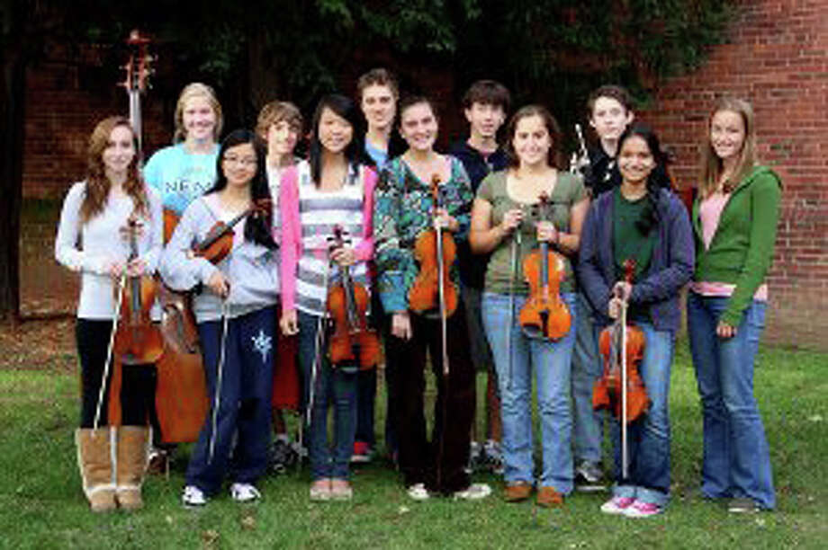 """NYS """"Principal"""" Orchestra musicians pictured left to right: Norwalk Youth Symphony members from Westport include (front row): Sarah Lavy, Danlei Wang, Katie Zhou, Nica Wardell, Samantha Small, Adele Shenoy; and (back row) Olivia Kapell, Max Liben, Ben Freeman, Jason Lustbader, Daniel Shapiro and Bridget Johnson. Photo: Contributed Photo / Westport News"""