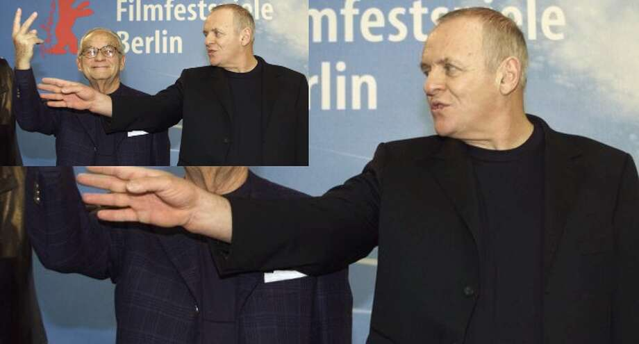 British actor Anthony Hopkins (right) and producer Dino De Laurentiis arrive for a news conference on their movie 'Hannibal' at the Berlin film festival, Feb. 11, 2001.